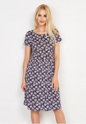 Sukienka w kwiatki odcinana w talii