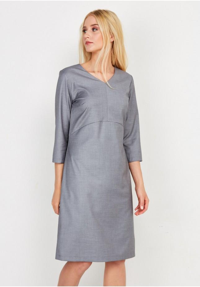 Siwa Biurowa Sukienka