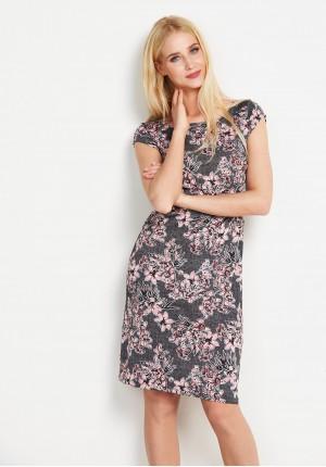 Szara Sukienka w różowe kwiatki