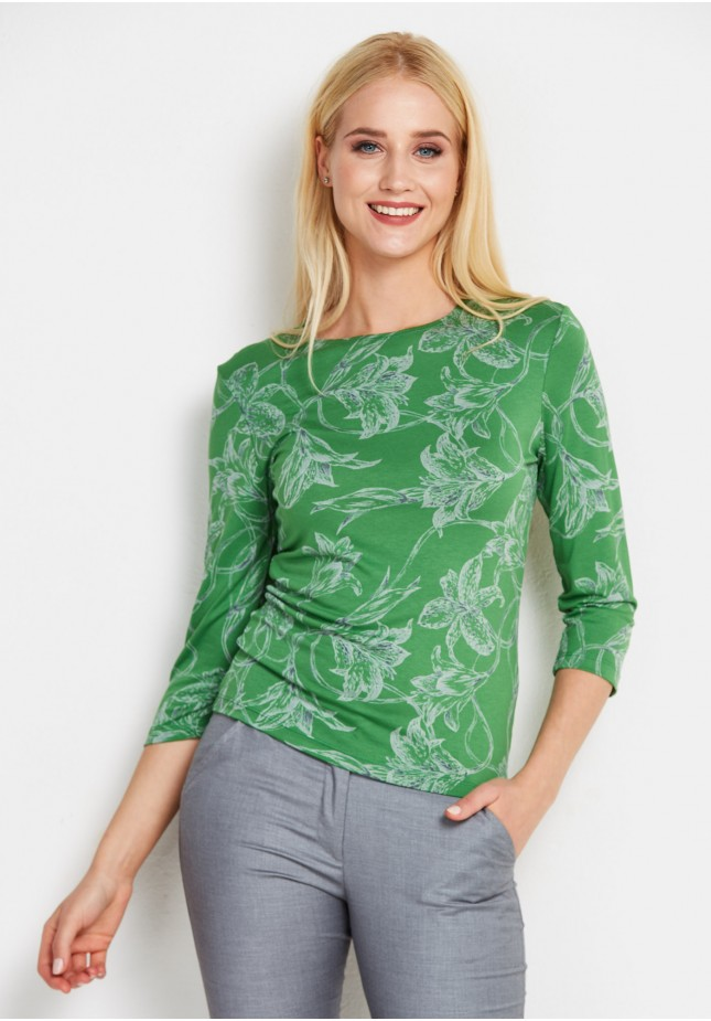 Zielona bluzka w kwiaty