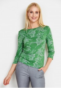 Green Blouse with Flowers
