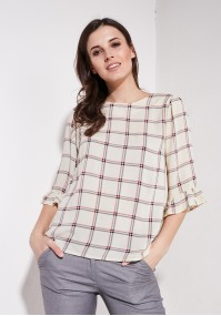 Beige Checkered Blouse