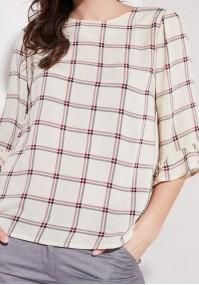 Beżowa bluzka w kratkę