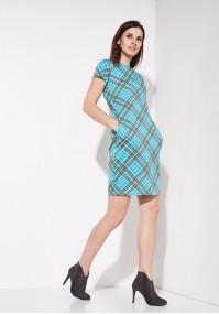 Turkusowa sukienka w kratkę
