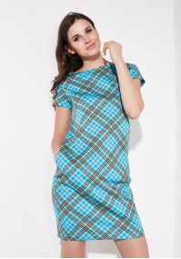 Turquoise tartan dress
