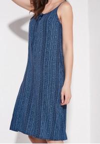 Niebieska Sukienka z falbaną