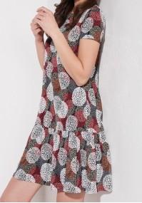 Sukienka w czerwone koła z falbaną