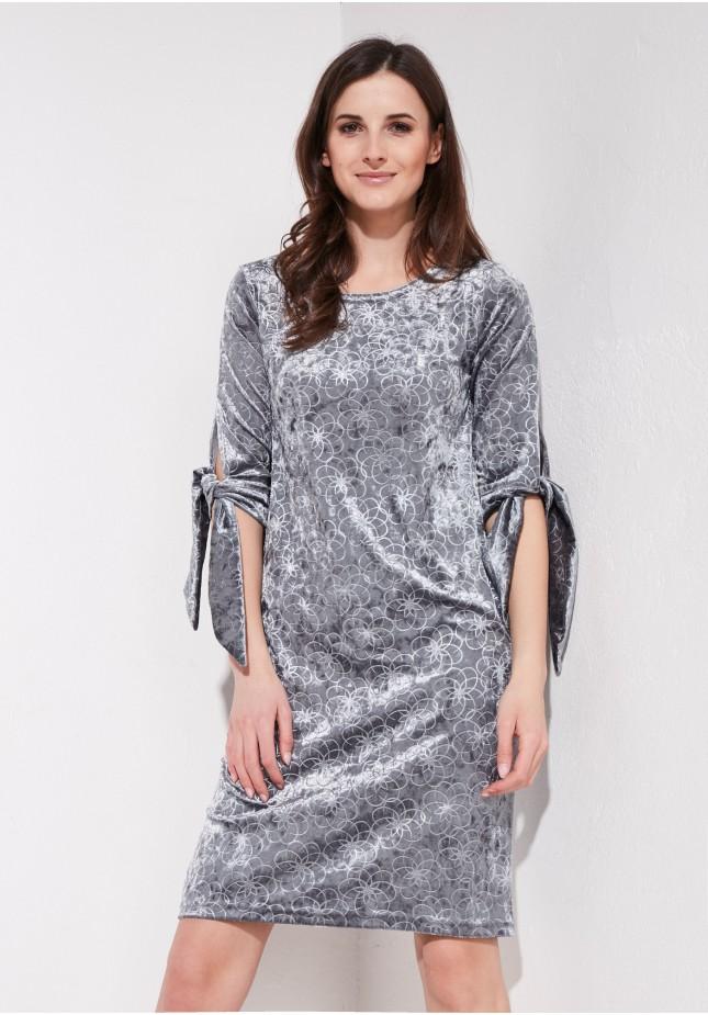 Szara welurowa sukienka