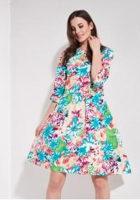 Kwiecista lniana sukienka