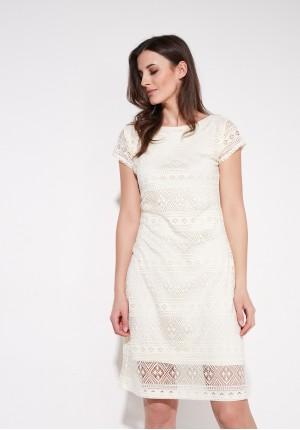 Koronkowa kremowa sukienka