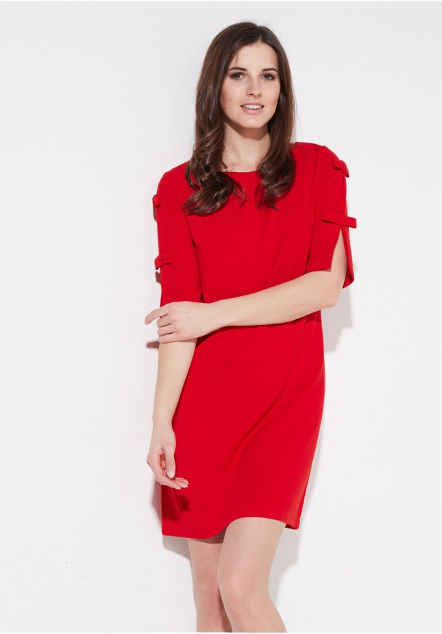 Red dress with bows