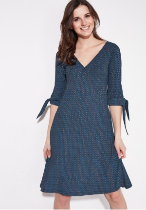 Dress with tied sleeves