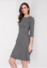 Flared black and white dress