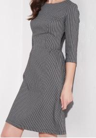 Rozkloszowana sukienka czarno-biala
