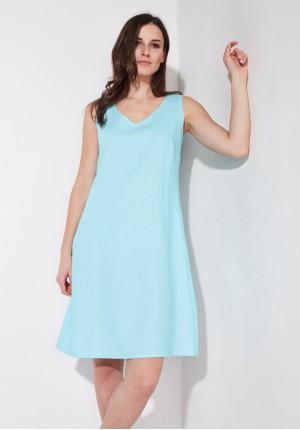 Lniana błękitna sukienka