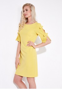 Żółta Sukienka z kokardkami