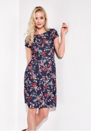 Navy Flared Dress
