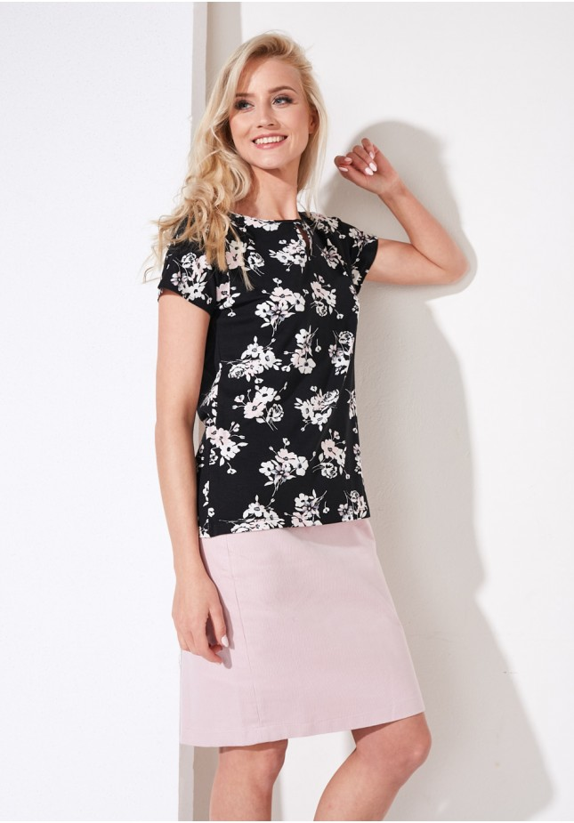 Flowery black blouse