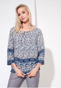 Blue boho blouse