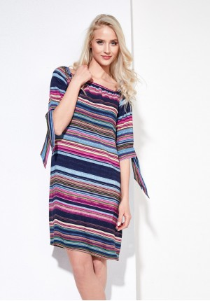 Bandeau summer dress, multicolor stripes