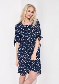 Granatowa sukienka w liście