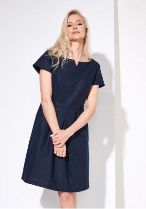 Granatowa lniana sukienka