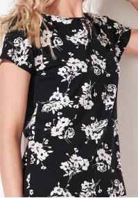 Czarna bluzka w kwiaty