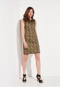 Dress with yellow squares