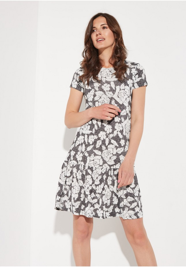 Szara sukienka z falbaną