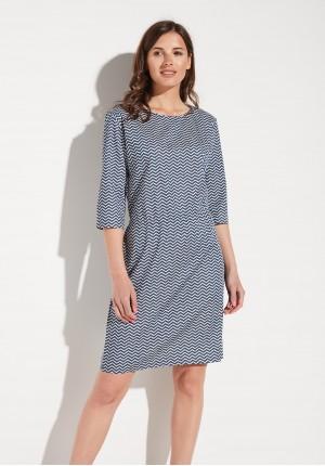 Granatowa Sukienka w Zygzaki