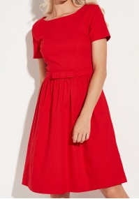 Elegancka odcinana czerwona Sukienka