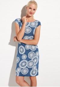 Granatowa sukienka z półrękawkiem