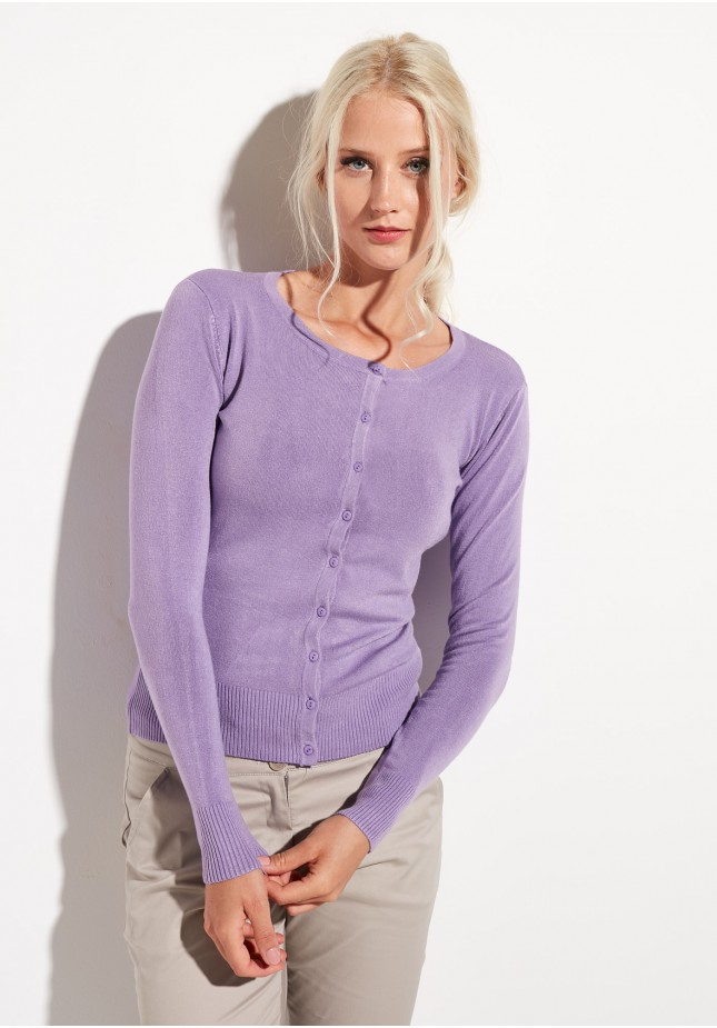 Classic lilac sweater with buttons