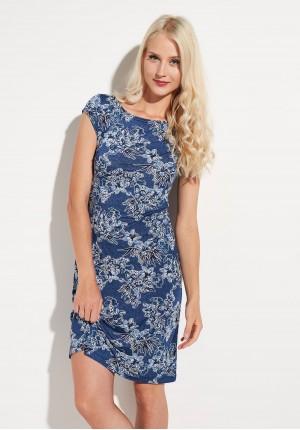 Dark blue Dress with flowers