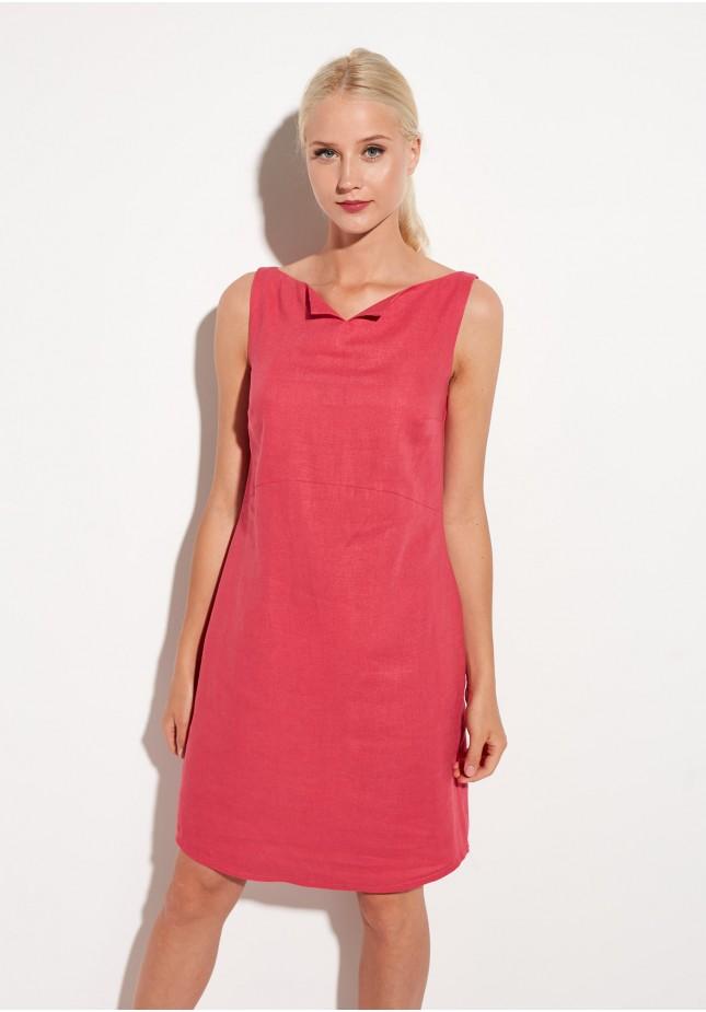 Sukienka lniana w kolorze malinowym