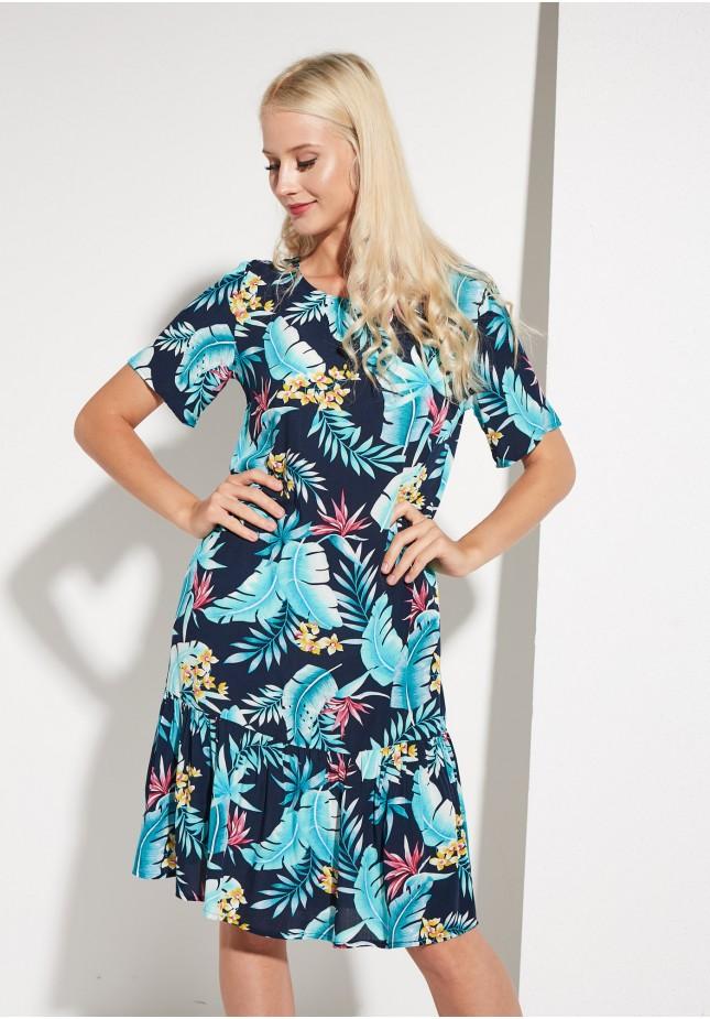 Sukienka z falbaną w motywy botaniczne