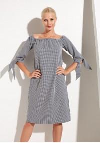 Sukienka z dekoltem hiszpańskim i wiązanymi rękawami