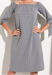 Checkered Dress with decorated sleeves