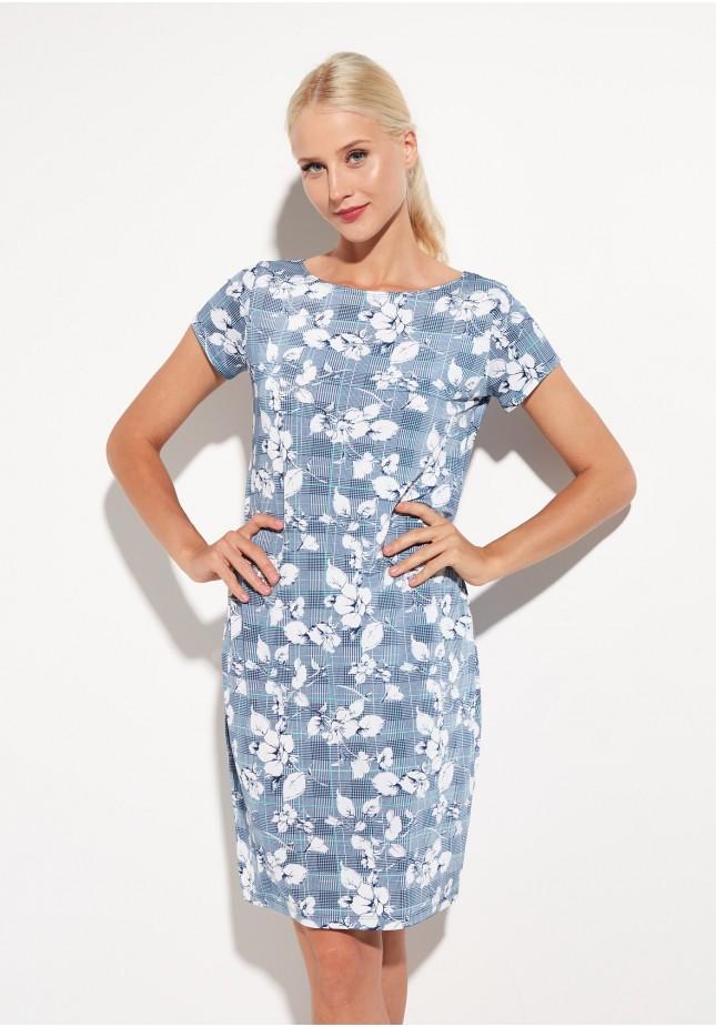 Niebieska Sukienka w Kratkę