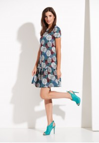 Smock dress with dots