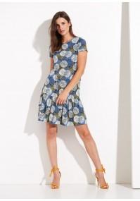 Sukienka z falbaną z żółtym