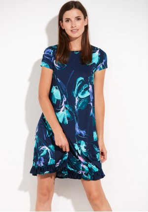 Trapezowa turkusowa Sukienka w kwiaty