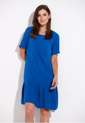 Kobaltowa Sukienka z falbaną