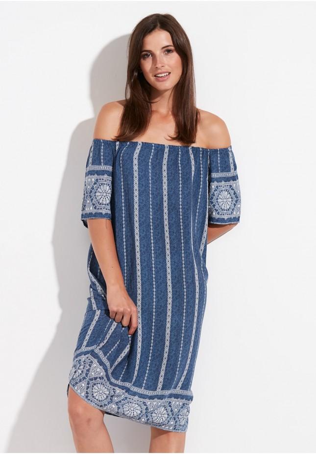Niebieska Sukienka z dekoltem hiszpańskim