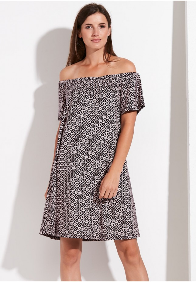 A-line off-the-shoulder patterned dress