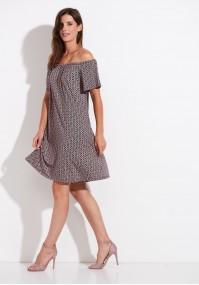 Trapezowa sukienka z hiszpańskim dekoltem