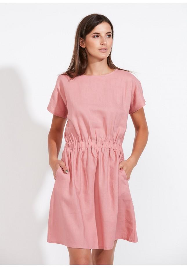 Pink linen dress