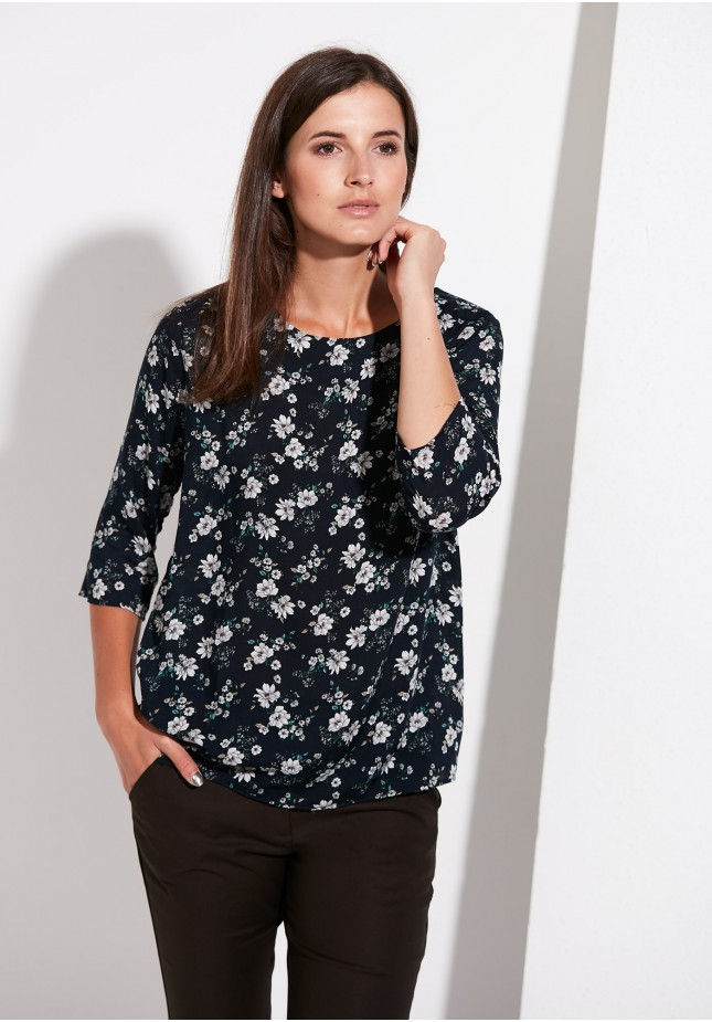 Black blouse with flowers