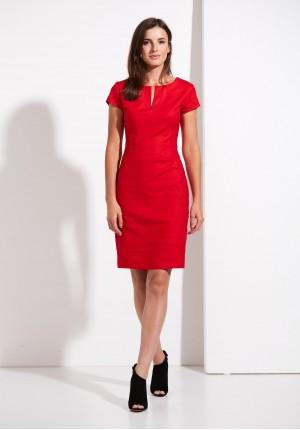 Lniana dopasowana Sukienka