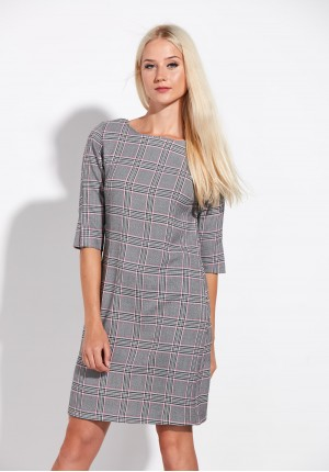 Grey simple pink Checkered Dress